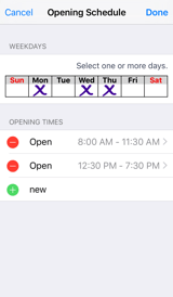 Opening Hours UX edit times screenshot