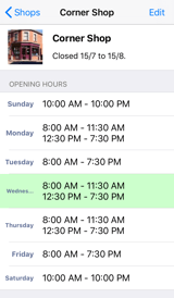 Opening Hours UX edit store screenshot