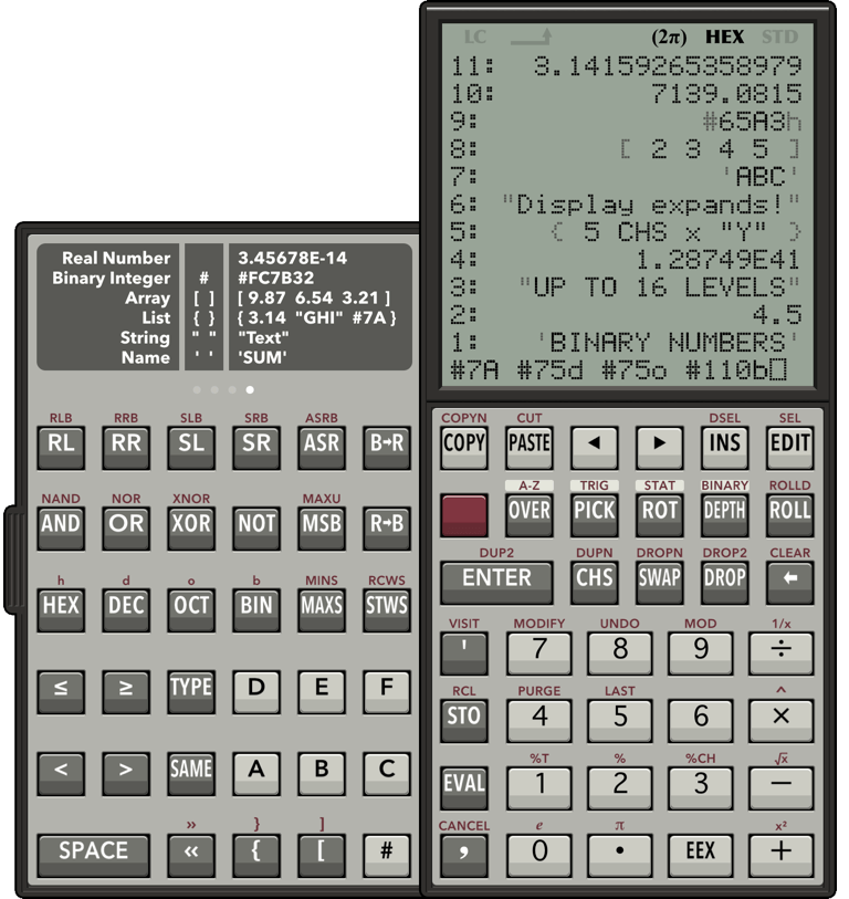 RPN 28x Calc BINARY HEX screenshot