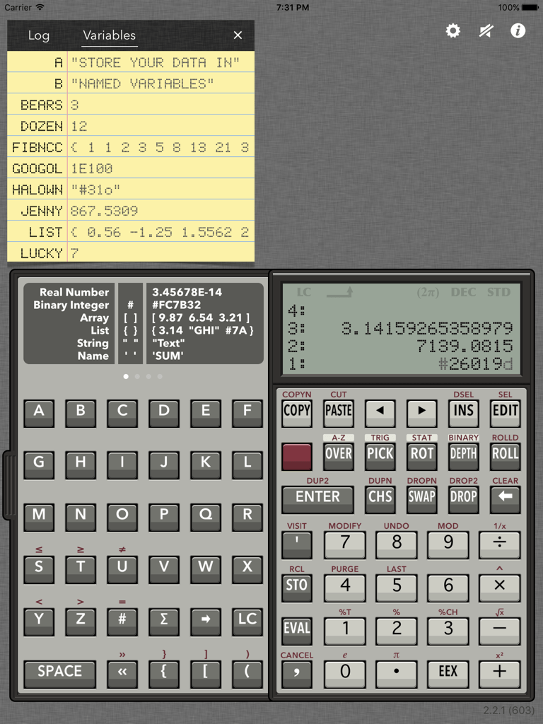 RPN 28x Calc A-Z main screenshot