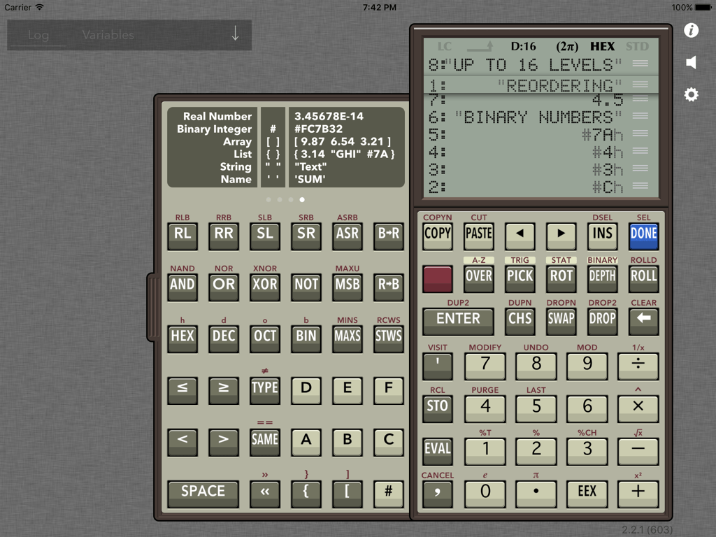 RPN 28x Calc row reordering colors screenshot