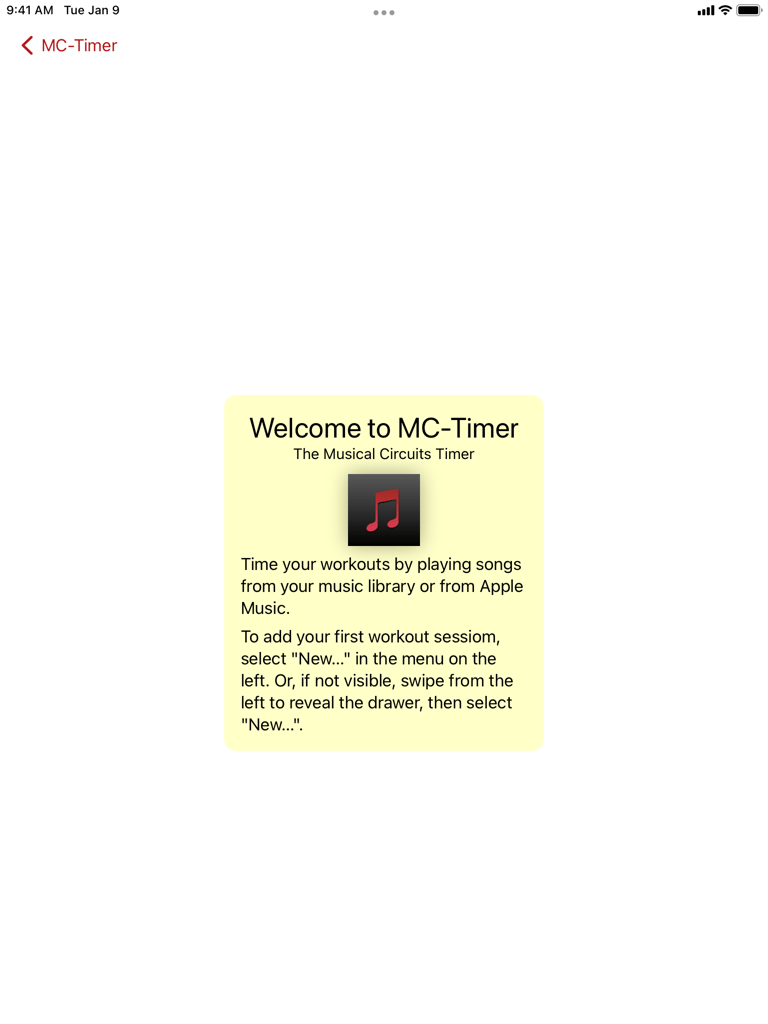 MC-Timer iPad screenshot of the welcome screen