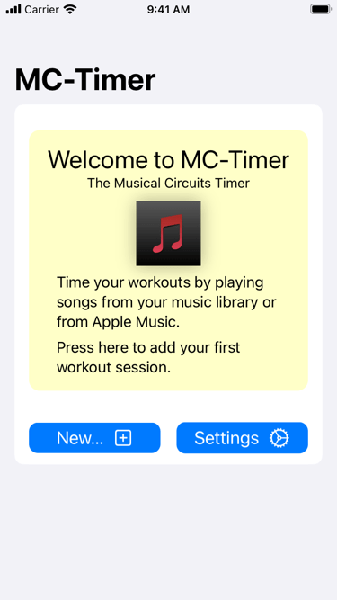 MC-Timer iPhone screenshot of the welcome screen